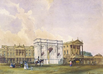 Buckingham Palace, 1835 (Crédito: John Buckler/Royal Collection)