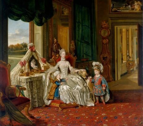 Rainha Charlotte com seus filhos por volta de 1765. O vestido de romano é George, futuro Príncipe Regente (Crédito: Johan Joseph Zoffany/Royal Collection)