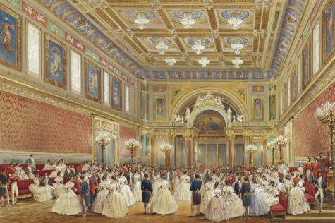 Baile oferecido pela Rainha Victoria em seu Salão em 1856. Vestidos já voltavam a ser estruturados (Crédito: Royal Collection)