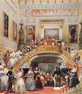 Grande Escadaria, movimentada em um Baile de Estado em 1848 (Crédito: Eugene Louis Lami/Royal Collection)