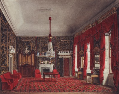 Sala de café da manhã da Rainha Charlotte, em 1817, na Buckingham House (Crédito: James Stephanoff/Royal Collection)