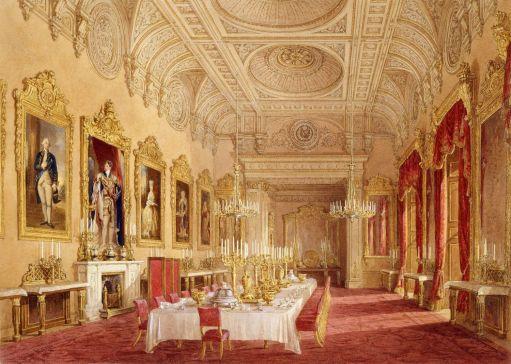 Sala de Jantar de Estado, 1843 - Repare na pintura de George IV - Prinny!- em cima da lareira (Crédito: Douglas Morison
