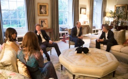 Sala de estar de William e Kate, durante a visita dos Obamas