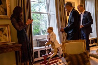 Kate, Baby George e Obama
