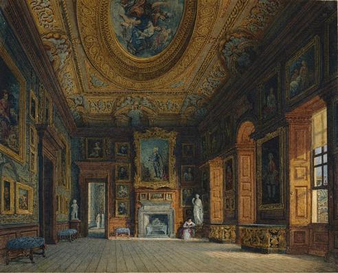 Sala de estar da Rainha Caroline, esposa de George II, por Charles Wild, 1816