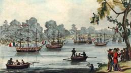 Encenação da Batalha de Trafalgar no Serpentine em 1814