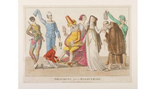 Sátira de diversas fantasias usadas na época, todas com as respectivas máscaras
