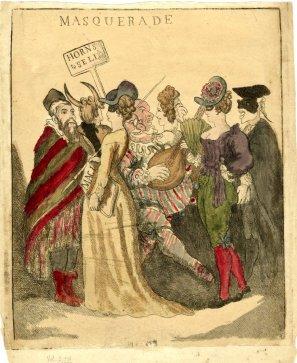 Ilustração satirizando a devassidão dos bailes de máscara
