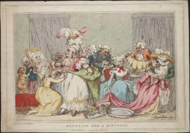 Baile no final do século 18, homens vestidos de mulher