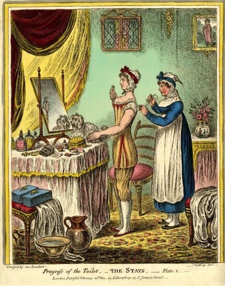 Moça se vestindo para festa no Argyll Rooms, convite e máscara em cima da mesa