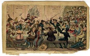 Jantar em uma festa a fantasia