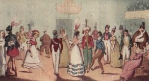 Ilustração de festa a fantasia com diversos tipos de roupas